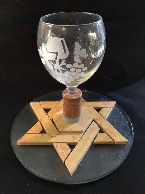 Kiddush Cup -Etched Glass Jerusalem Stone Star of David