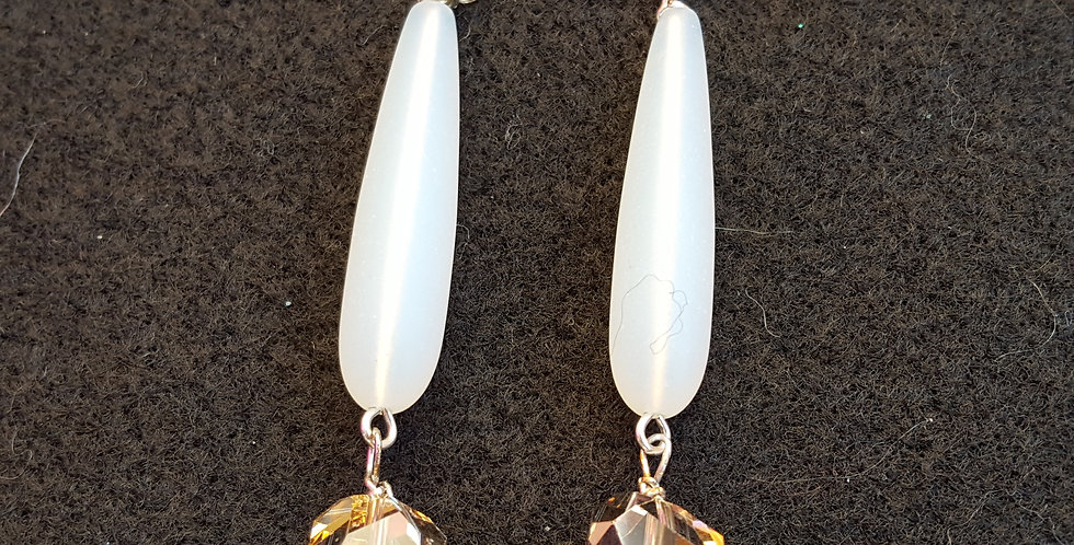 Milky Glass Teardrop Earrings