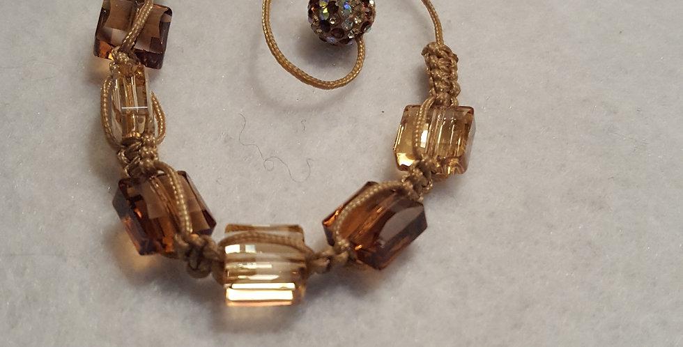 "Swarovski crystal brown & crystal tan ""stairway bead"" shamballa bracelet"
