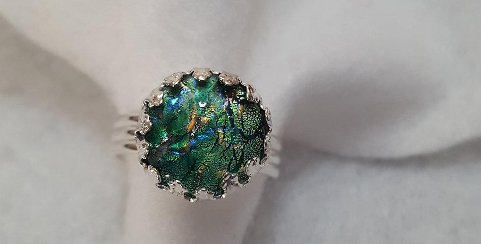 Silver metal design ring
