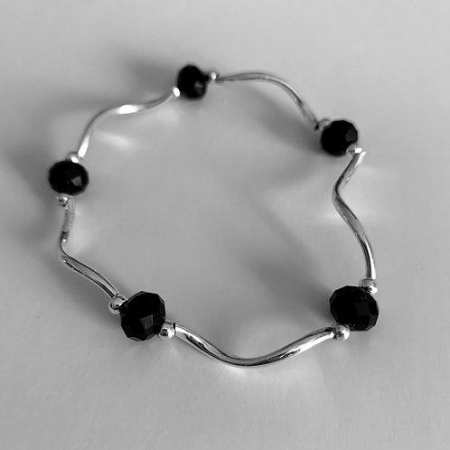Black Bead and Metal Bracelet