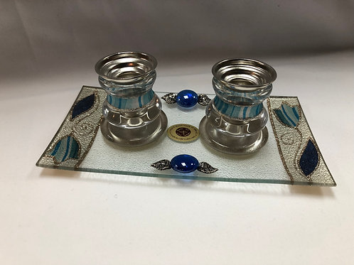 Glass and Silver Shabbat Candlesticks with Glass Drip Tray