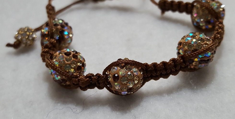 Brown, tan, & AB clear pave beaded bracelet