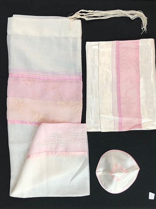 White and Pink Shear Tallis