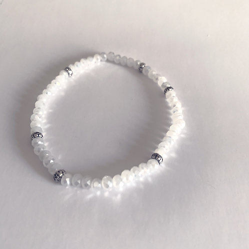 Mini Crystal White Ice Beaded Bracelet