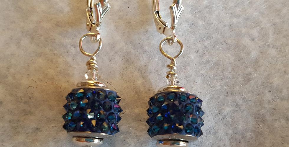 Blue spike Swarovski crystal on sterling silver component earrings