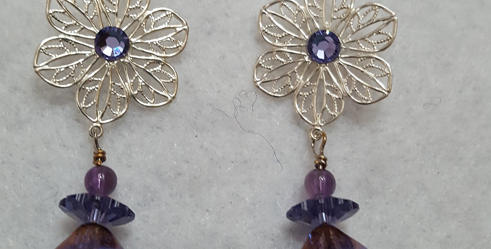 Silver flower shaped components w/purple margarita Swarovski crystal bead earrin
