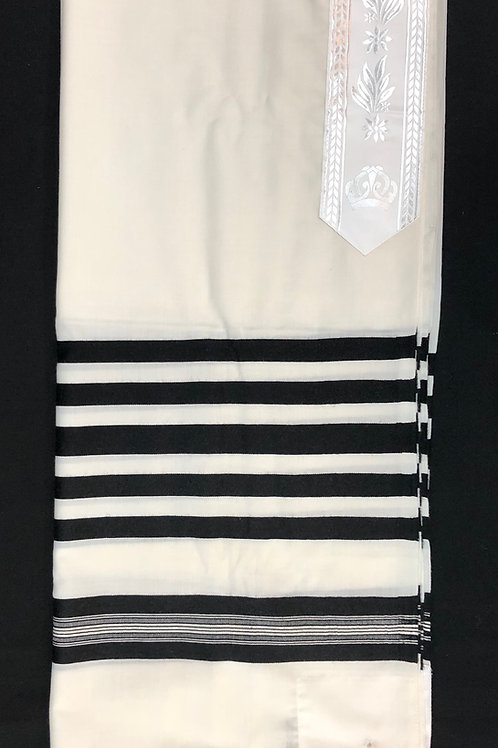 """Traditional White with Black Stripe Tallit 100% Wool  60""""x80"""""""
