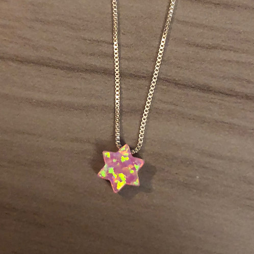 Carved Stone Star of David on Sterling Silver Necklace (Pink and Yellow)