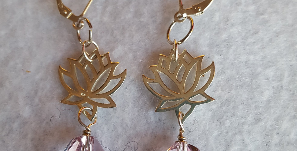 Sterling silver lotus blossom earrings