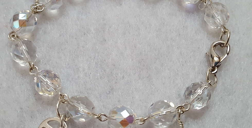 Clear round, faceted Czech glass bracelet