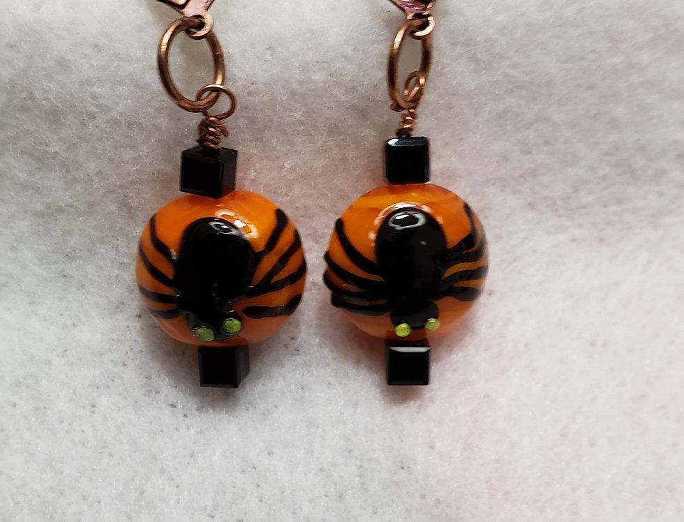 Orange Ceramic Bead Earrings
