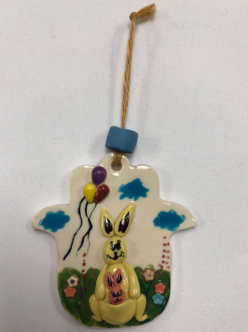 Ceramic Children's Hamsa - Momma and Baby Kangaroo