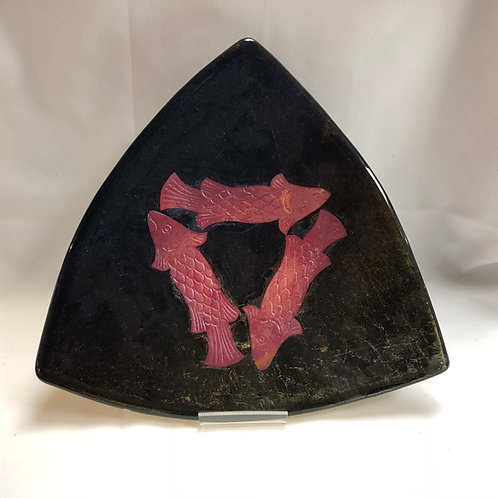 Glass Serving  Dish for Hamantaschen (Black and Pink)