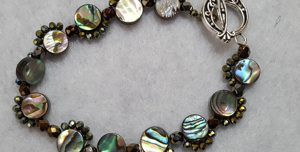 Round paua stone beads bracelet