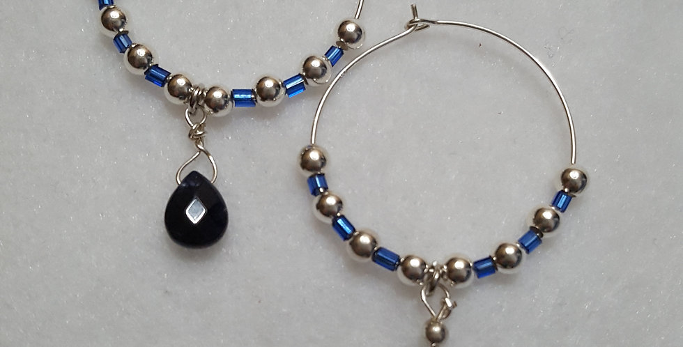 Sterling silver hoop earrings with blue sapphire pear shaped briolettes