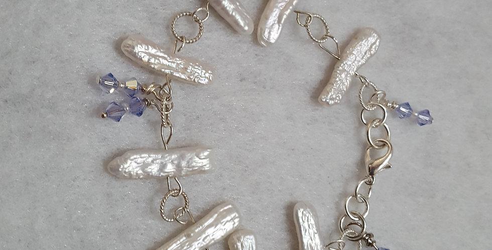 White stick pearls with lilac Swarovski Bracelet