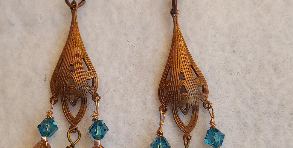 Antique copper chandelier earrings