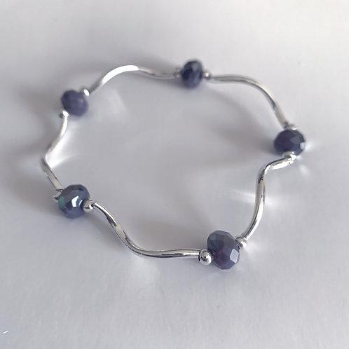 Twilight Lavender Bead and Metal Bracelet