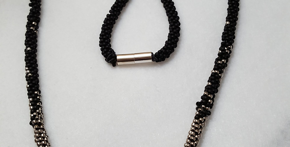 Hand Braided Black Seed Beads Necklace
