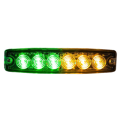 "Ultra Thin 5"" Green/Amber LED Strobe Light"