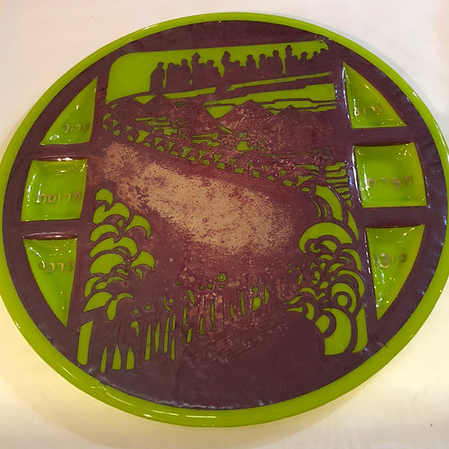 Green Glass and Copper Passover Seder Plate