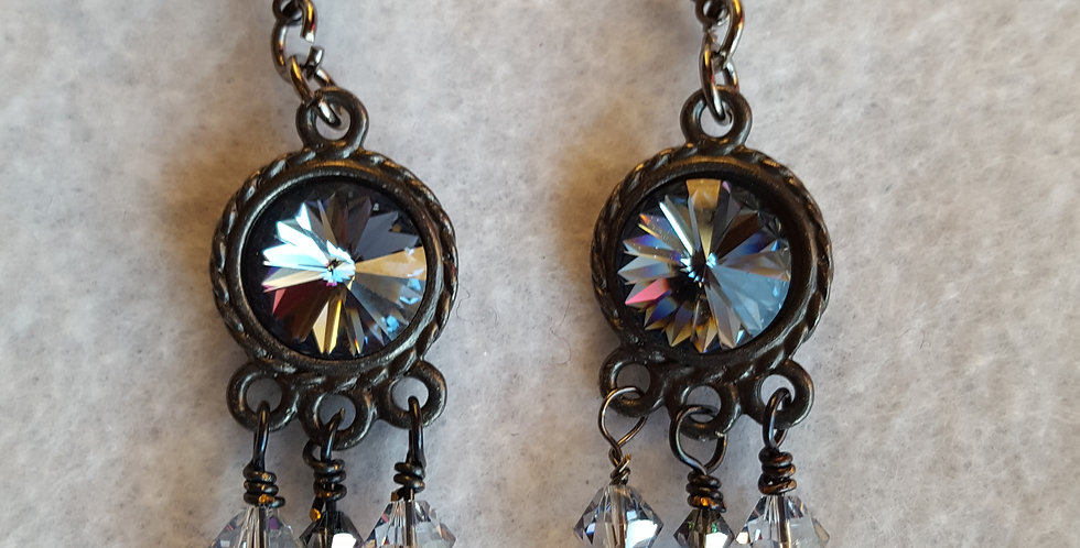Gun metal earrings w/deep sapphire Swarovski crystal Rivoli