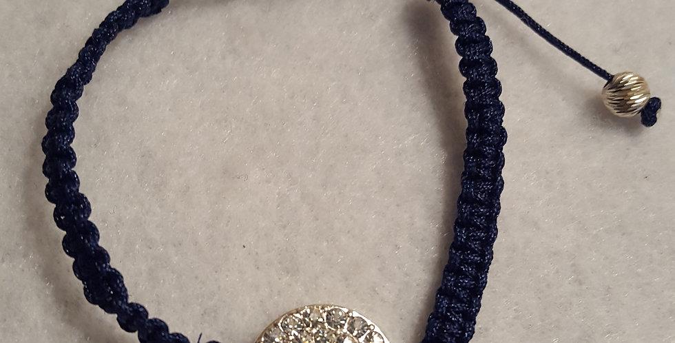 Round silver rhinestone link braided bracelet