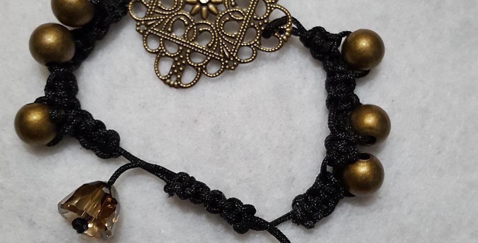 Funky brass flower link square bracelet