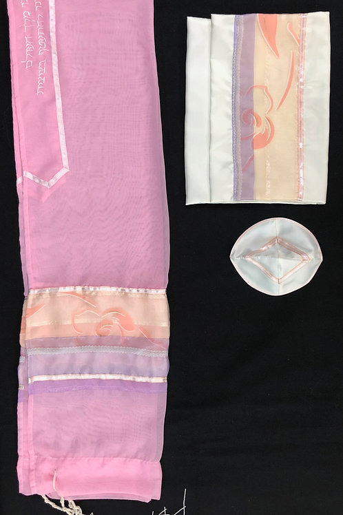 Pink Tallit with Floral Accents in Peach