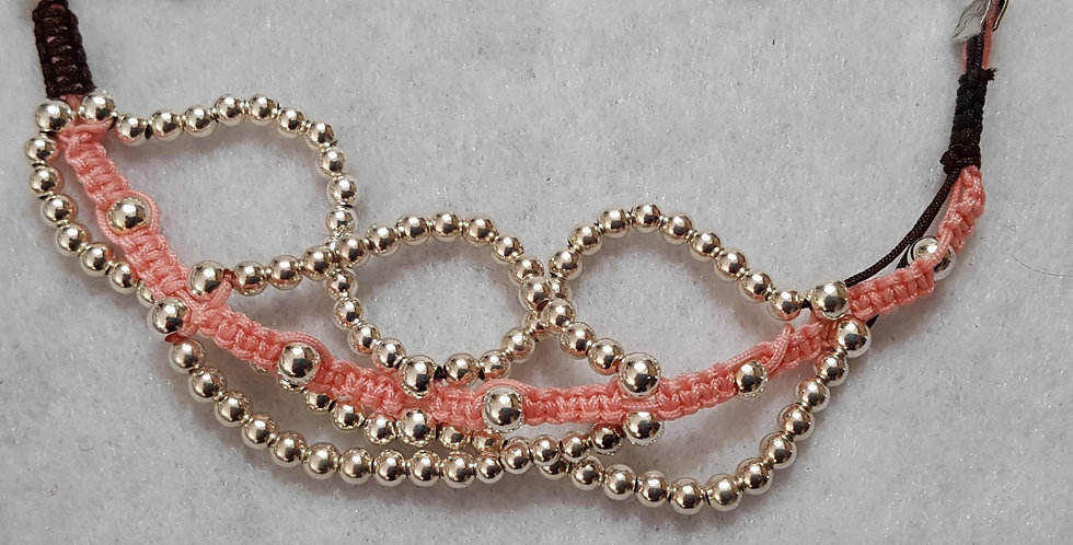 Sterling silver round beads interwoven in pink cord macramé bracelet
