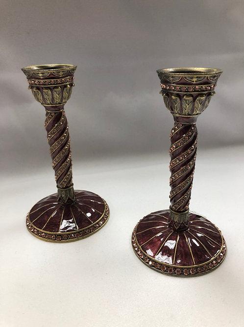 Ornate Metal Shabbat Candlesticks - Deep Red and Gold