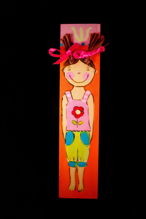 Children's Mezuzah -Girl with Pigtails Flower Shirt