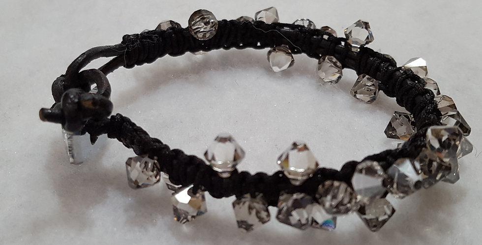 Top drilled silver shade Swarovski crystal bracelet