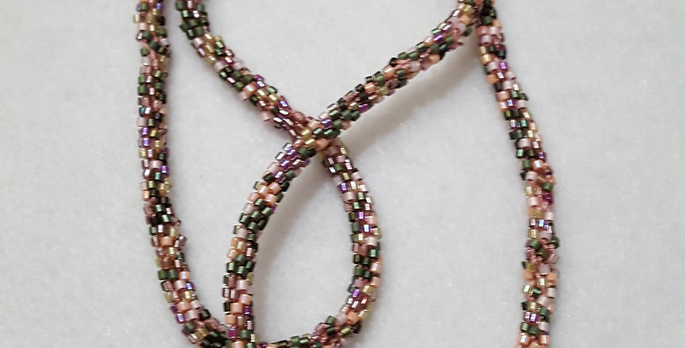 Multi Colored Hand Braided Seed Bead Necklace