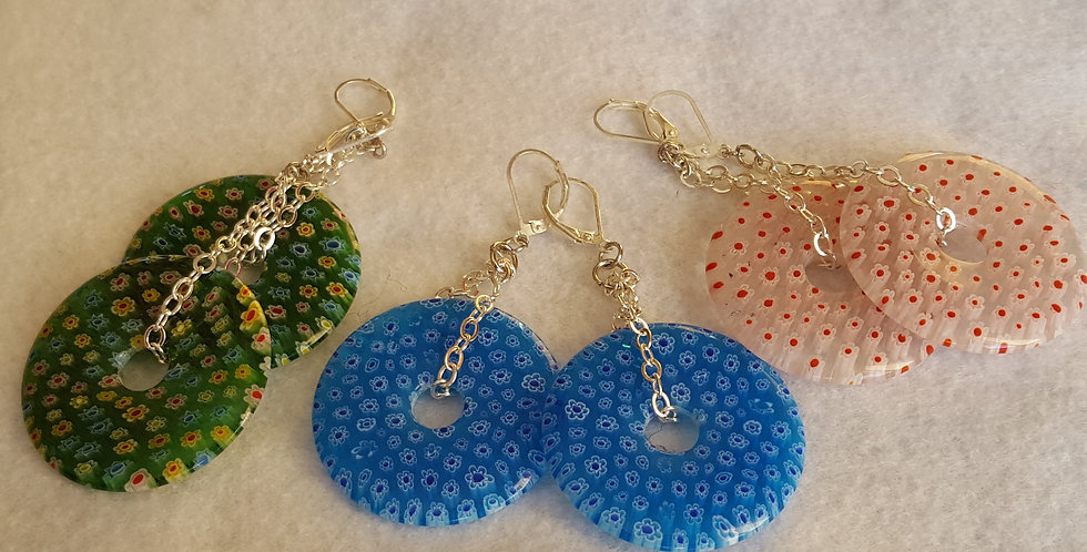 Murano Glass Donut Shaped Earrings