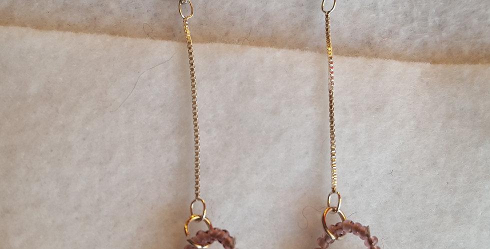 Light vitrail Swarovski crystal open rounds earrings