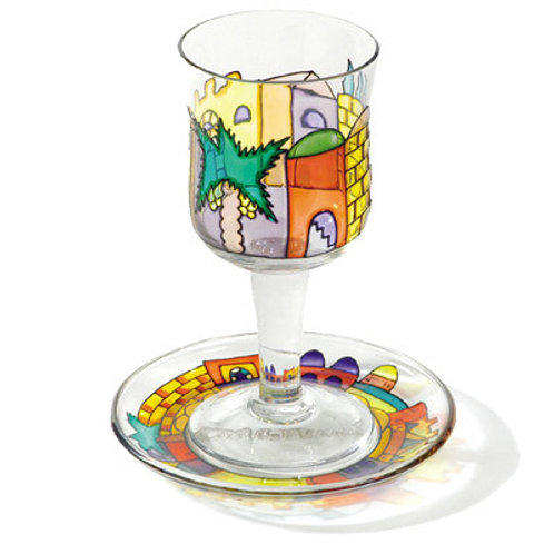 Glass Kiddush Cup - Painted Jerusalem