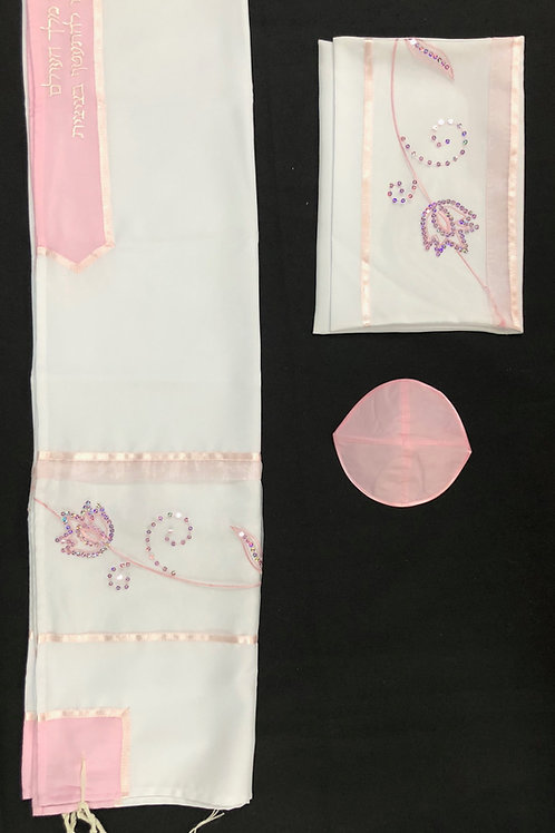 White and Pink Tallit with Floral Beaded Design