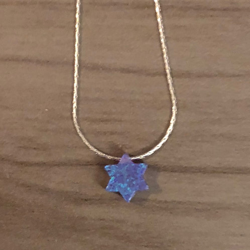 Carved Stone Star of David on Sterling Silver Necklace (Blue and Purple)