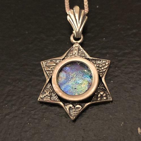 Star of David/Jerusalem Old City Pendant and Silver/Roman Stone Necklace