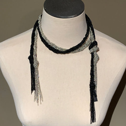 Black and Silver Rope Necklace
