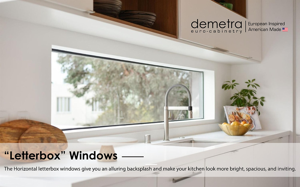 The Horizontal letterbox windows give you an alluring backsplash and make your kitchen look more bright, spacious, and inviting.
