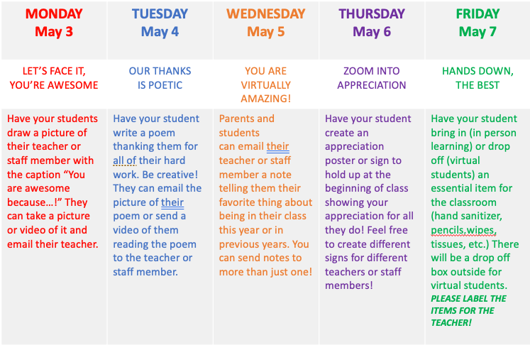Daily activities for students to show their appreciation