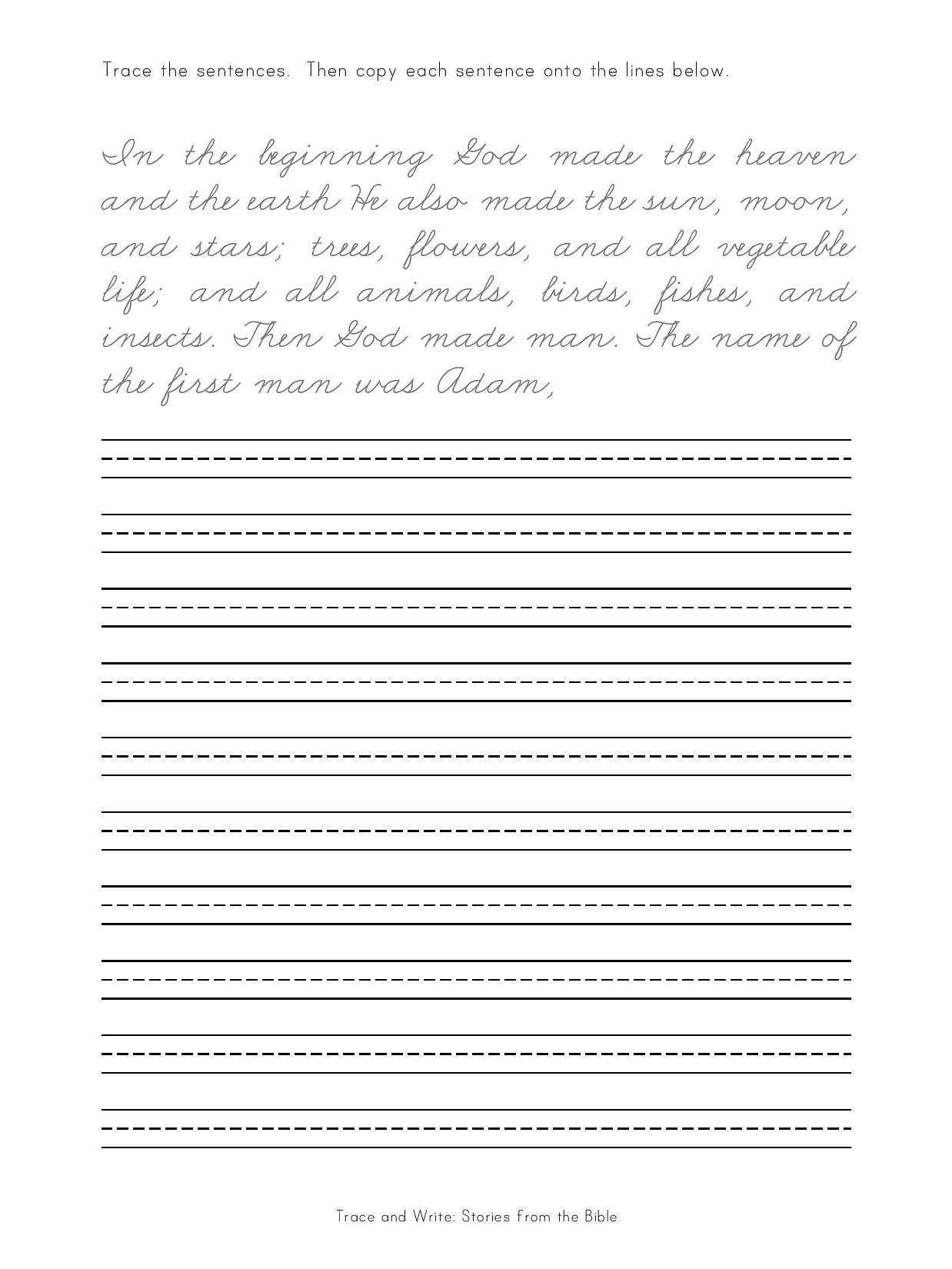 handwritingworkbooks trace and write old testament bible stories