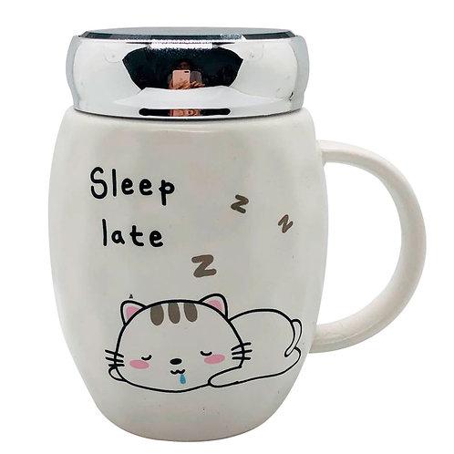 Mug Taza Catty Sleep Late En Cerámica Resistente Beige
