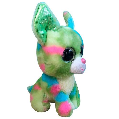 Peluche Perro Lobo Verde Ojón De Tela Suave Para Bebé