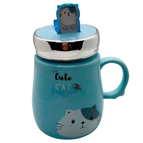 Mug Gato Cute Cat gris En Cerámica Y Cuchara 410 Ml