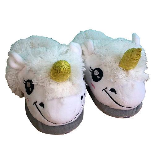 Babuchas Pantuflas Estilo Unicornio  blanco Talla M