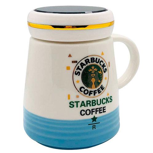 Mug Taza Starbucks Cofee R Cerámica Resistente Azul Y Blanca